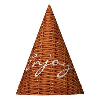 Chapéu De Festa Cesta de vime de madeira rústica do piquenique de