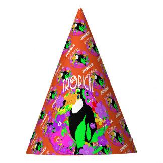 Chapéu De Festa Colorido animal tropical bonito do pássaro exótico
