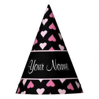 Chapéu De Festa Corações cor-de-rosa pretos do amor