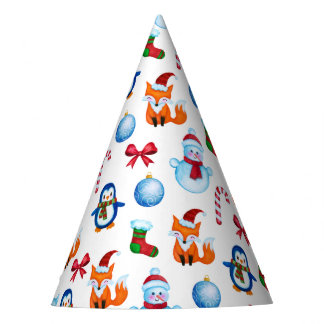 Chapéu De Festa Design bonito da ilustração do Natal da aguarela