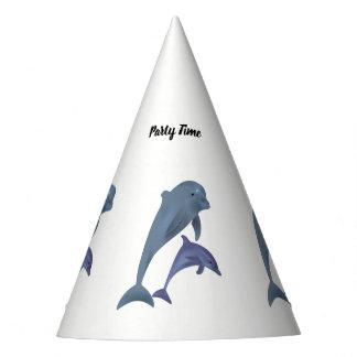 Chapéu De Festa Dois golfinhos tropicais que saltam ao lado de se