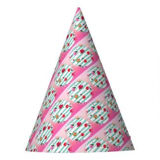 Chapéu De Festa Estrelas florais cor-de-rosa do partido