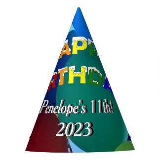 Chapéu De Festa Feliz aniversario do arco-íris dos azuis e dos