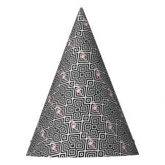 Chapéu De Festa Flamingo - teste padrão geométrico abstrato - rosa