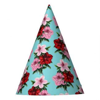 Chapéu De Festa flores rosas vermelha na luz da cerceta