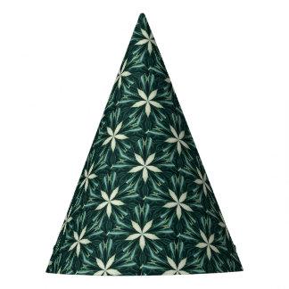 Chapéu De Festa Folhas do branco em um caleidoscópio verde da