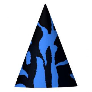 Chapéu De Festa Forma preta e azul do animal da selva da zebra