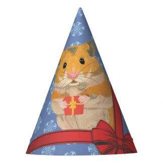 Chapéu De Festa Hamster do Natal dos flocos de neve
