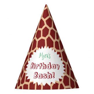 Chapéu De Festa Impressão do girafa de Brown da cor da picareta de