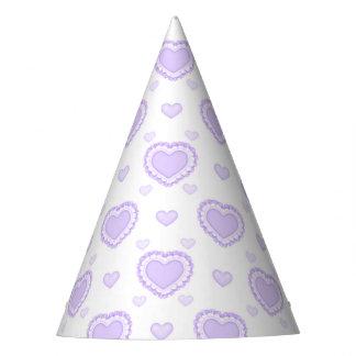 Chapéu De Festa Lilac romântico & corações brancos