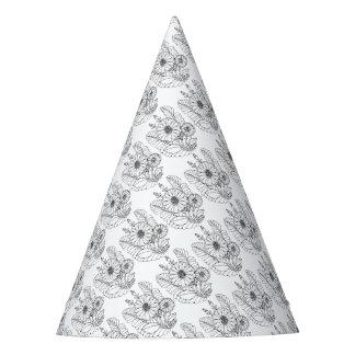 Chapéu De Festa Linha floral design do pulverizador dois da arte