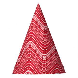 Chapéu De Festa Linhas onduladas em vermelho e em branco