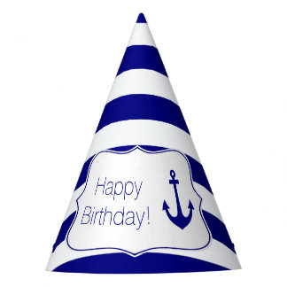 Chapéu De Festa Listras do marinho e festa de aniversário náutica