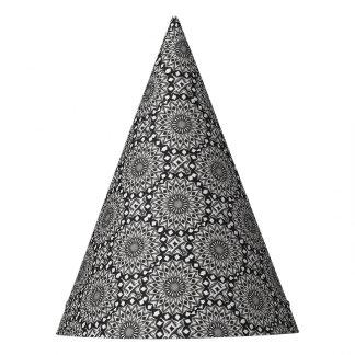 Chapéu De Festa Mandala decorativa preto e branco