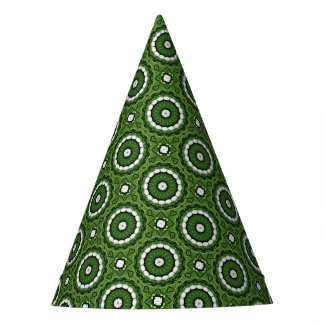 Chapéu De Festa Mandala verde e branca tropical da flora