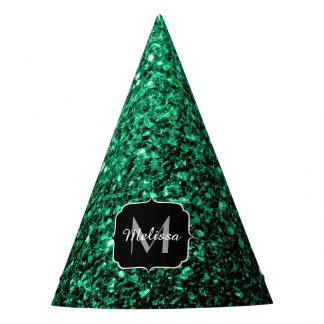 Chapéu De Festa Monograma bonito dos sparkles do brilho do verde