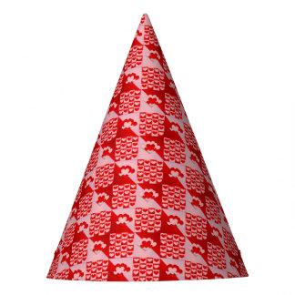 Chapéu De Festa Namorados cor-de-rosa vermelhos do teste padrão