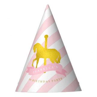 Chapéu De Festa O aniversário da menina cor-de-rosa do cavalo do