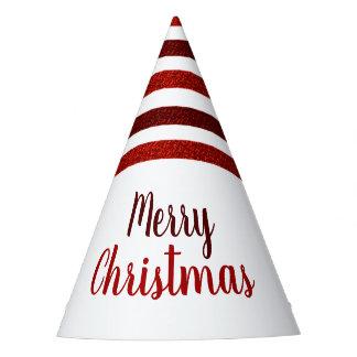 Chapéu De Festa O brilho vermelho listra o Feliz Natal
