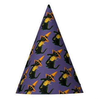 Chapéu De Festa O Dia das Bruxas antiquado, gato da bruxa que joga