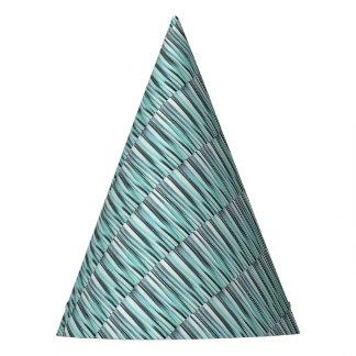 Chapéu De Festa O oceano azul ciano Stripey alinha o teste padrão