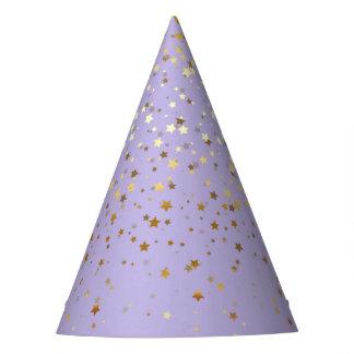 Chapéu De Festa O pequeno ouro Stars a Chapéu-Lavanda do partido