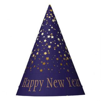 Chapéu De Festa O pequeno ouro Stars o feliz ano novo Chapéu-Roxo