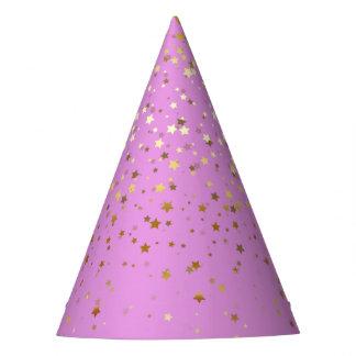 Chapéu De Festa O pequeno ouro Stars o rosa da Chapéu-Orquídea do