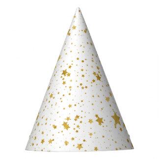 Chapéu De Festa Ouro Stars2 - Branco puro
