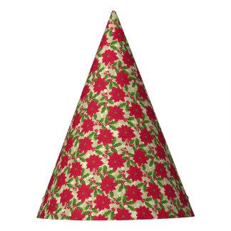 Chapéu De Festa Poinsétia bonita do Natal, azevinho, ramo do pinho