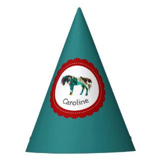 Chapéu De Festa Pônei bonito com azul e o vermelho