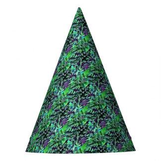 Chapéu De Festa Pop art abstrato da folha no verde e no roxo de