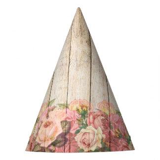 Chapéu De Festa Rosas românticos rústicos do vintage de madeira