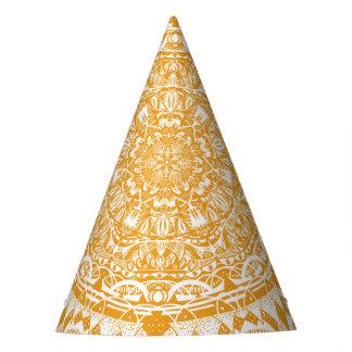 Chapéu De Festa Teste padrão alaranjado da mandala