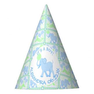 Chapéu De Festa Teste padrão azul do elefante do menino do chá de