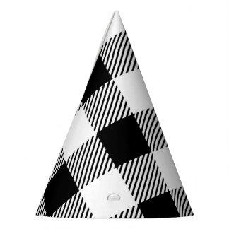 Chapéu De Festa Teste padrão clássico B&W da xadrez da verificação