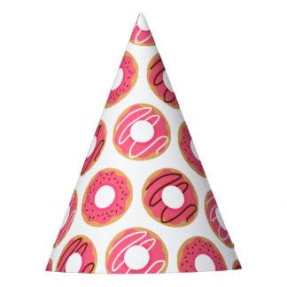 Chapéu De Festa Teste padrão cor-de-rosa das rosquinhas