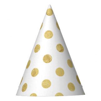 Chapéu De Festa Teste padrão de bolinhas elegante da folha de ouro