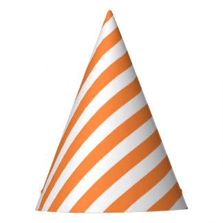 Chapéu De Festa Teste padrão diagonal alaranjado e branco das