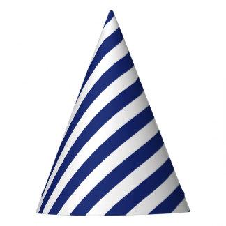 Chapéu De Festa Teste padrão diagonal do azul marinho e o branco