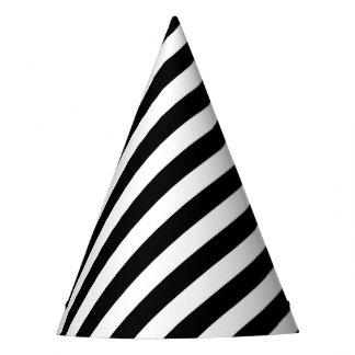 Chapéu De Festa Teste padrão diagonal preto e branco das listras