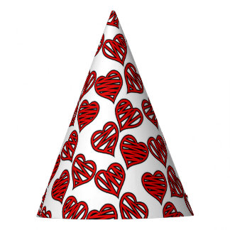 Chapéu De Festa Teste padrão esboçado dos corações do divertimento