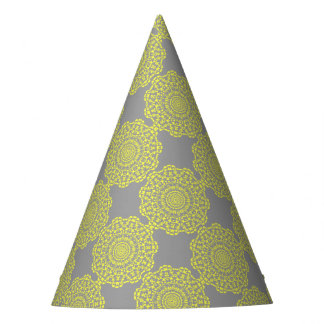 Chapéu De Festa Teste padrão laçado elegante cinzento do círculo