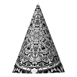 Chapéu De Festa Teste padrão preto e branco da mandala