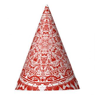 Chapéu De Festa Teste padrão vermelho da mandala