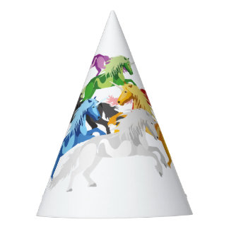Chapéu De Festa Unicórnios selvagens coloridos da ilustração