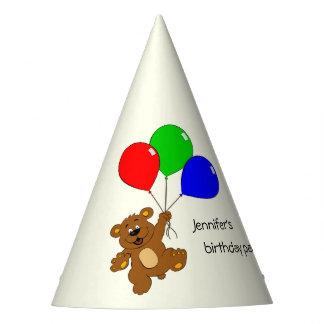 Chapéu De Festa Urso bonito com aniversário de criança dos balões