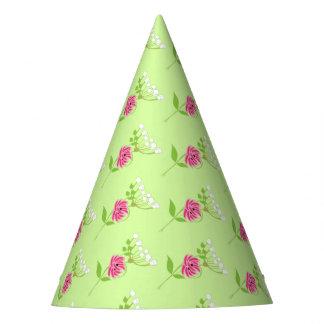 Chapéu De Festa Verde elegante do rosa das flores selvagens das