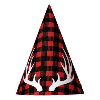 Chapéu De Festa Xadrez rústica do lenhador & Antlers brancos dos