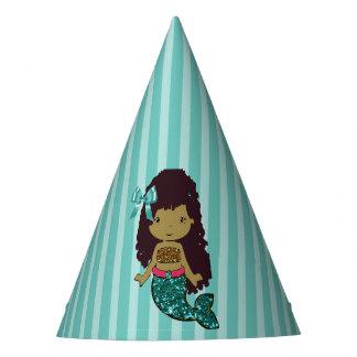 Chapéu do aniversário da sereia de turquesa do